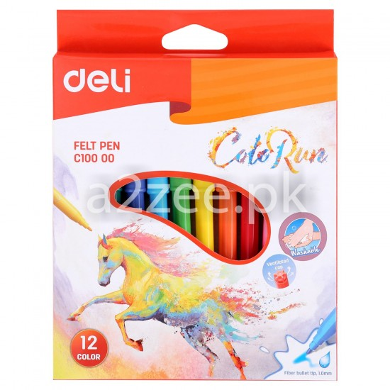 Deli Stationery - Felt Pen (12 colors)